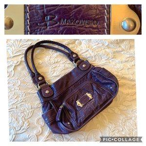 B Makowsky large leather shoulder handbag purple